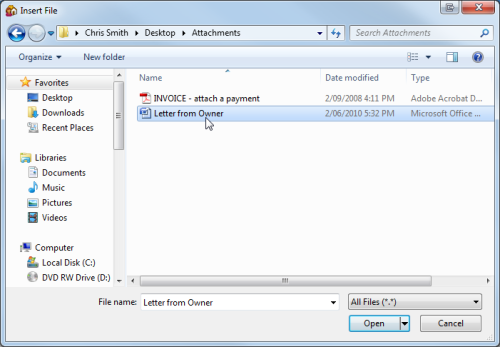 Image 10 Attaching Invoices and Documents to Email with Owner Statements